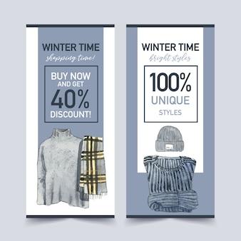 Conception de flyer de style hiver avec pull, écharpe, illustration aquarelle de chapeau de laine.