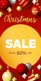 Conception de flyer de vente de noël avec étiquette circulaire discount