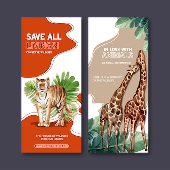 Conception de flyer de zoo avec tigre, illustration aquarelle de girafe.