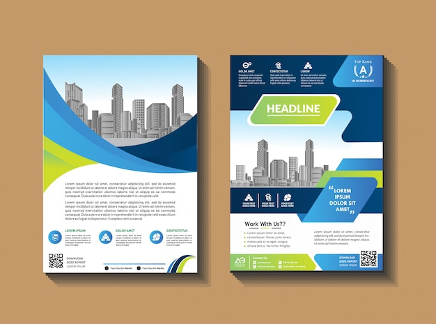 Conception de flyers de brochures commerciales couverture du rapport annuel
