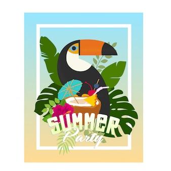 Conception de flyers fête été plage tropicale