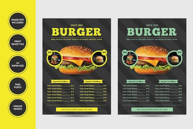 Conception de flyers de menu alimentaire