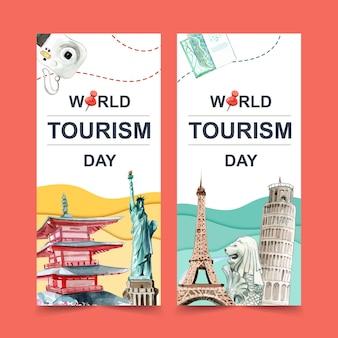 Conception de flyers touristiques avec pagode chureito, merlion, tour penchée de pise.