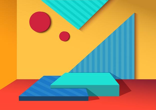 Conception de fond 3d avec forme de géométrie colorée et motif à rayures.