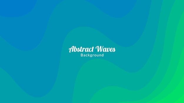 Conception de fond abstrait vagues bleues et vertes de couleur