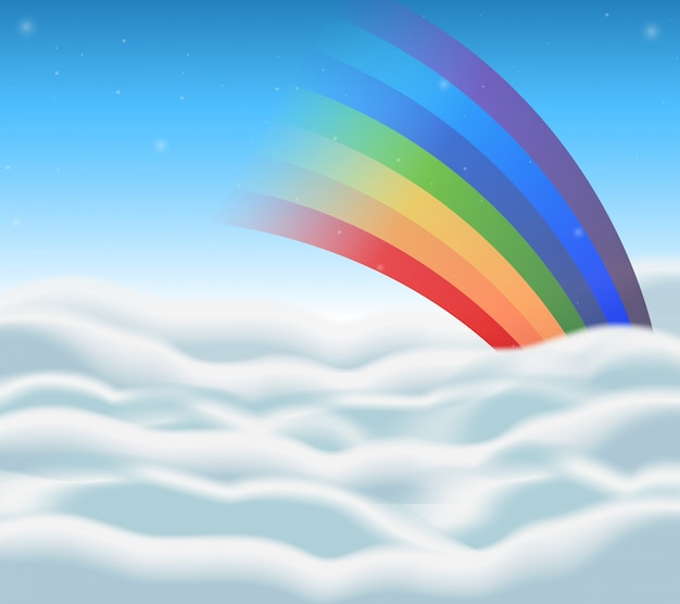 Conception de fond avec arc-en-ciel dans le ciel