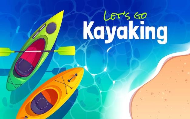 Conception de fond d'aventure en kayak