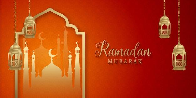 Conception de fond de bannière de médias sociaux islamiques ramadan kareem