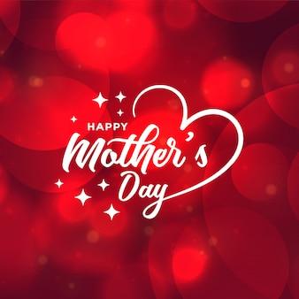 Conception de fond de belle fête des mères rouge bokeh