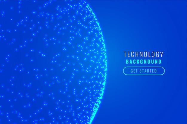 Conception de fond bleu particule technologie sphère rougeoyante
