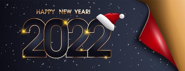 Conception de fond de bonne année 2022. carte de voeux, bannière, affiche. illustration vectorielle. design riche et festif pour carte de vœux, invitation, affiche de calendrier.