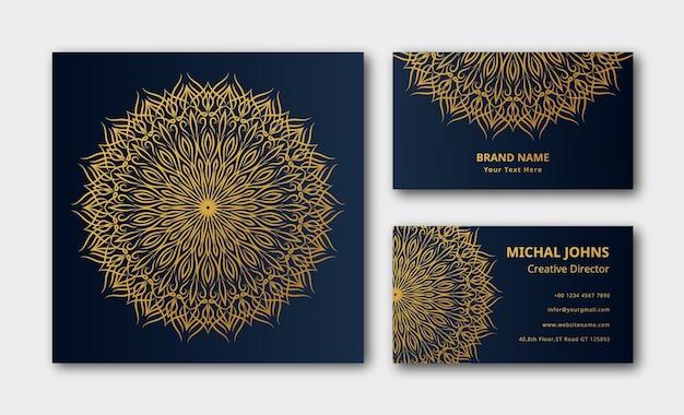 Conception de fond de carte de visite de luxe mandala eps