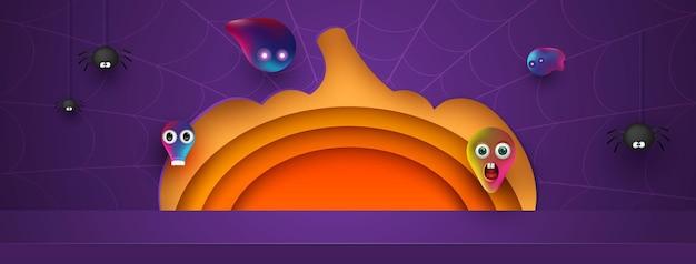 Conception de fond de citrouille d'halloween avec affichage du produit podium violet. araignées et fantômes amicaux. 3d papier art abstrait forme géométrique minimale arrière-plan du modèle. illustration vectorielle.