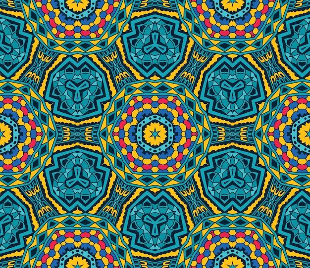 Conception de fond coloré festif. modèle sans couture ethnique vintage tribal abstrait ornemental.