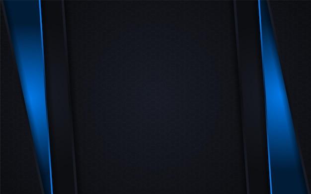 Conception de fond de combinaison de lignes abstraites noires et dégradées bleues
