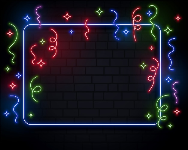 Conception de fond événement néon confettis célébration événement