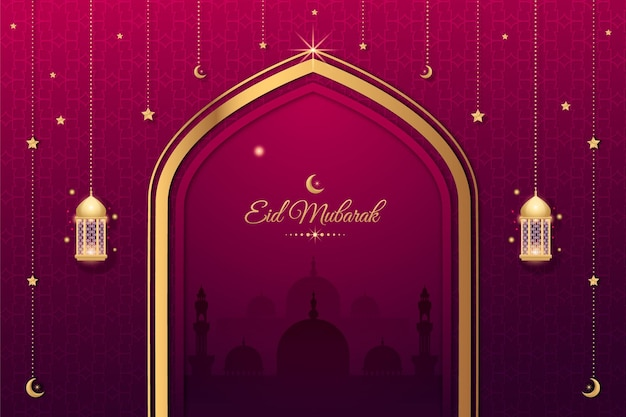 Conception de fond de festival islamique eid mubarak décoratif