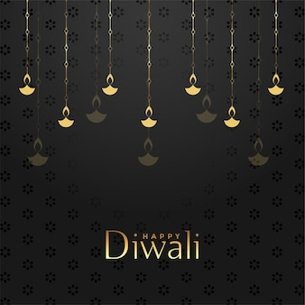 Conception de fond festival joyeux diwali noir et or