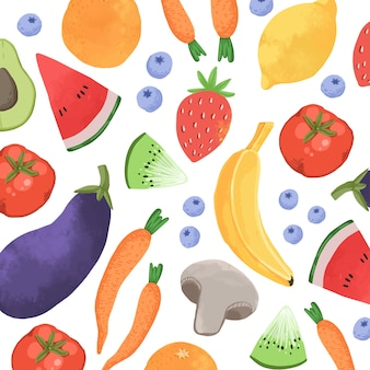 Conception de fond de fruits et légumes