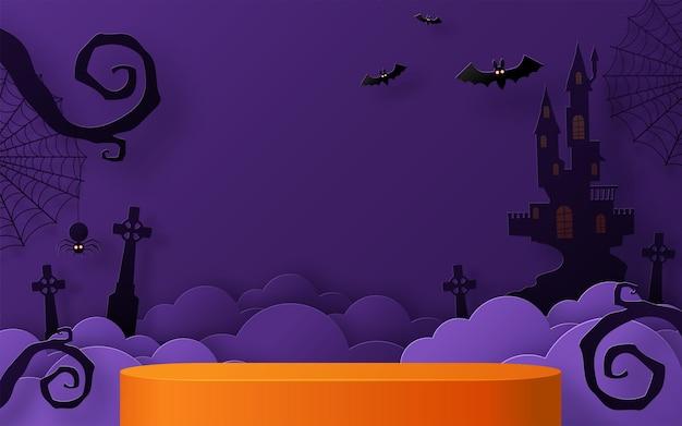 Conception de fond d'halloween avec podium de scène de boîte carrée ronde podium 3d