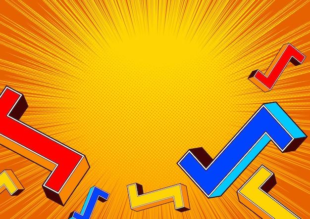 Conception de fond de modèle comique de forme géométrique, illustration pop art.