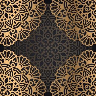 Conception de fond de modèle sans couture mandala en couleur noire et dorée