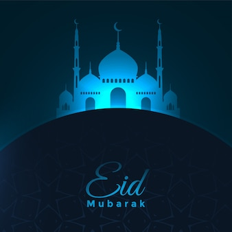 Conception de fond de mosquée rougeoyante bleu eid mubarak