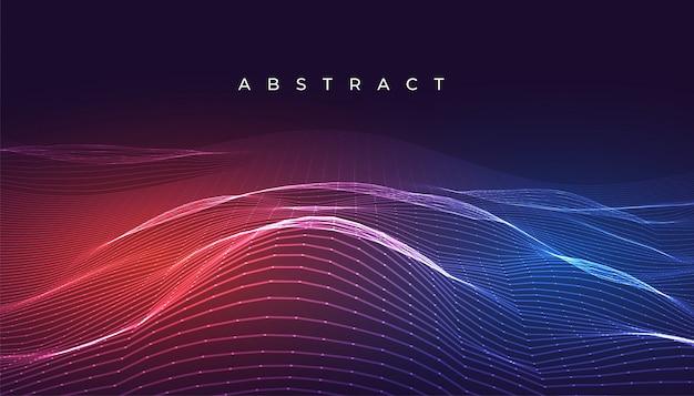 Conception de fond numérique brillant lignes abstraites ondulées