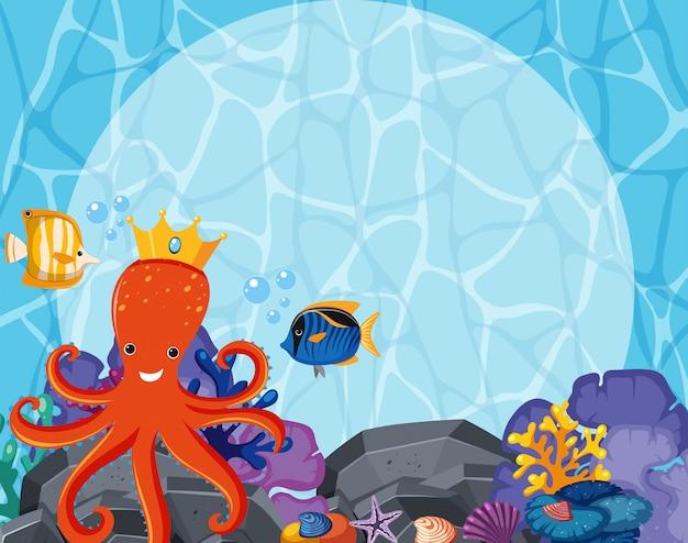 Conception de fond avec poulpe et poissons sous l'eau