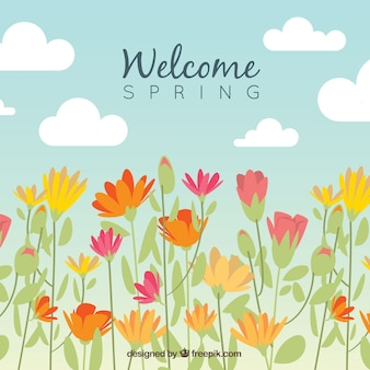 Conception de fond de printemps avec des fleurs