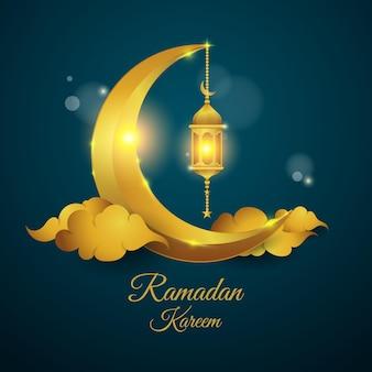 Conception de fond de ramadan avec lanterne et croissant de lune