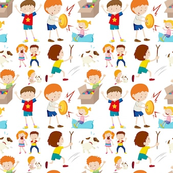 Conception de fond sans couture avec les enfants jouant