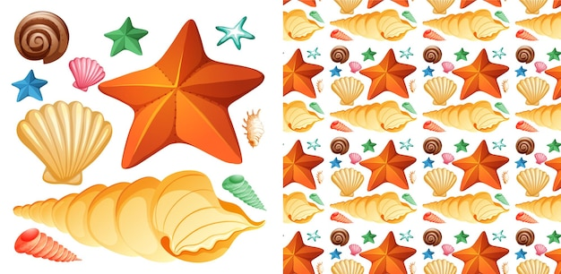 Conception de fond sans couture avec ensemble isolé de coquillages et d'étoiles de mer