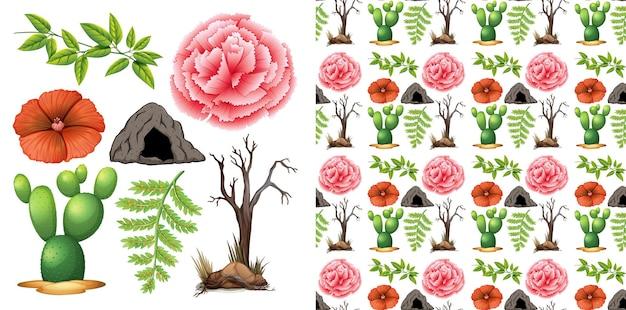 Conception de fond sans couture avec le jardinage de thème d'objets isolés