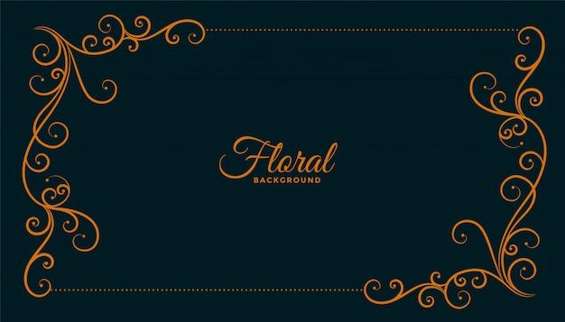 Conception de fond sombre de cadre d'angle floral ornemental