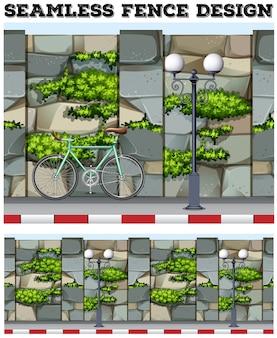 Conception de fond transparente avec clôture en briques