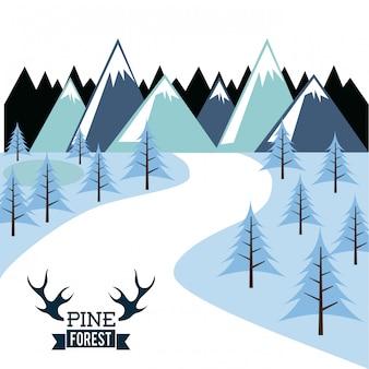 Conception de la forêt sur l'illustration vectorielle fond blanc