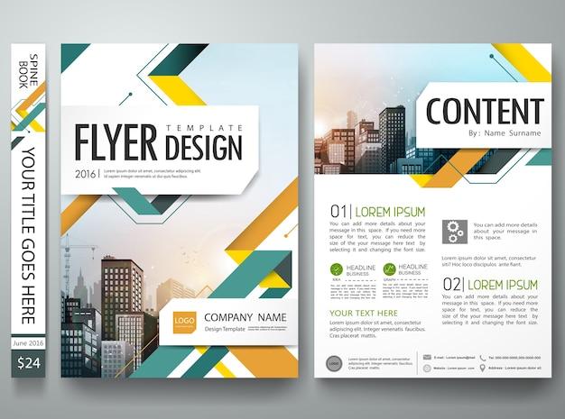 Conception de forme abstraite verte et orange sur la mise en page taille a4