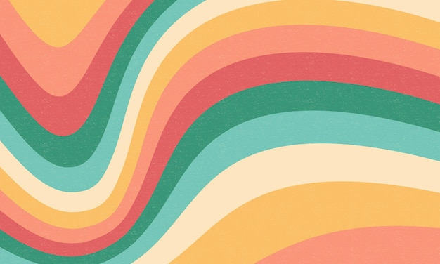 Conception de formes ondulées abstraites de fond groovy rétro coloré
