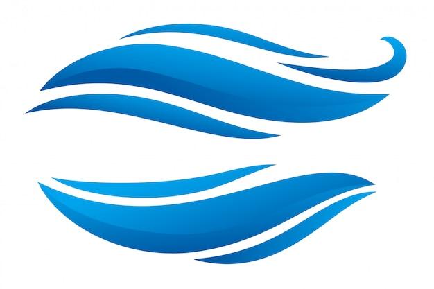 Conception de formes de style bannière deux bleu sinueux