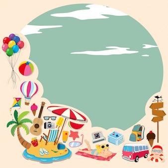 Conception de la frontière avec des objets de plage