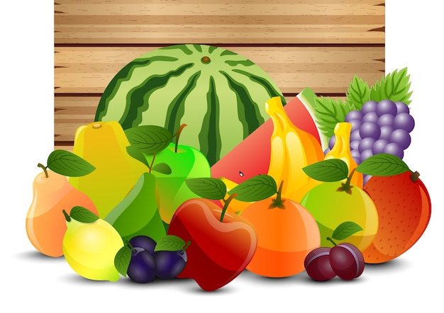 Conception de fruits 2d sur fond en bois