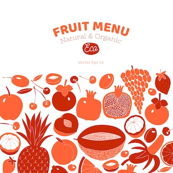 Conception de fruits dessinés à la main scandinave. illustrations vectorielles style de linogravure. la nourriture saine.