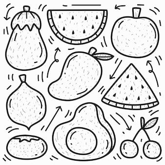 Conception de fruits de doodle de dessin animé dessiné à la main