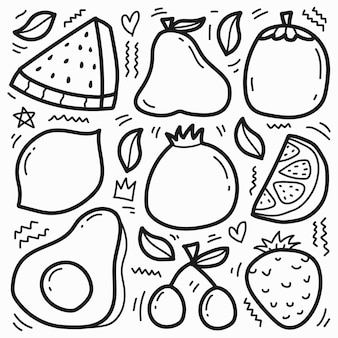 Conception de fruits de doodle de dessin animé dessiné à la main