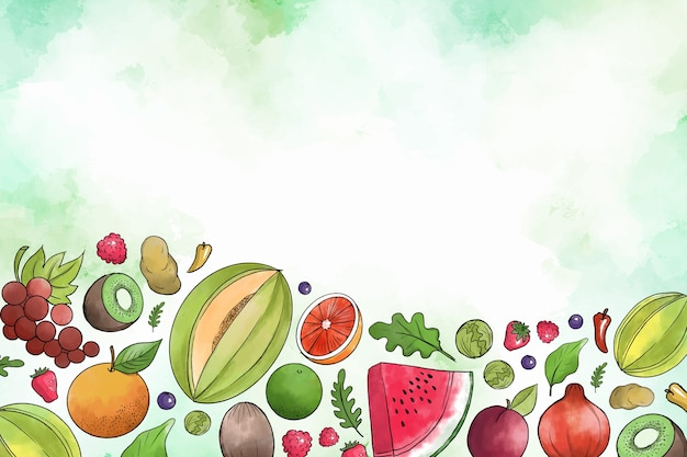 Conception de fruits et légumes dessinés à la main