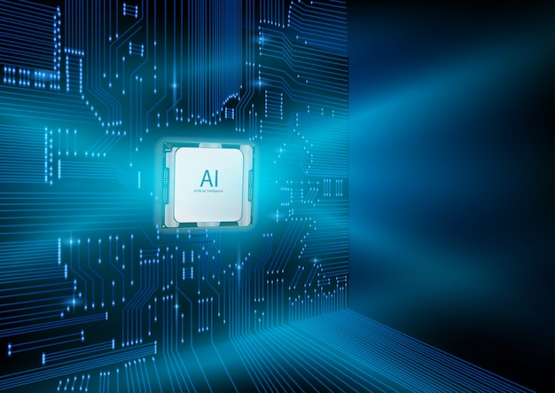 Conception futuriste d'une puce d'intelligence artificielle avec circuit imprimé.