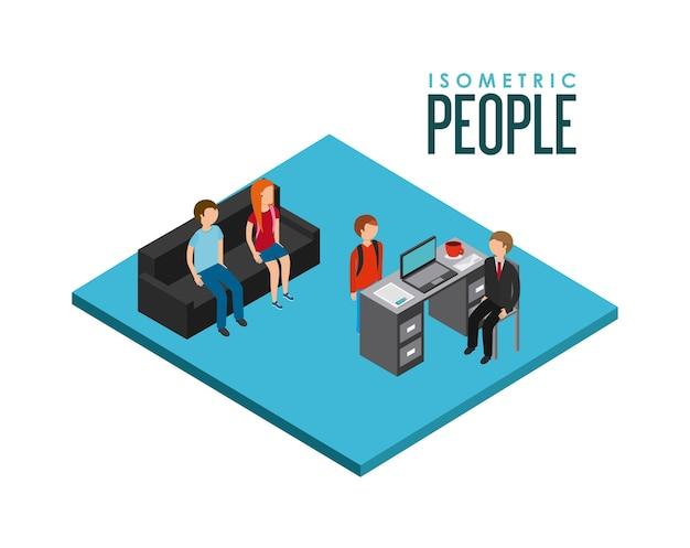 Conception de gens d'affaires isométrique