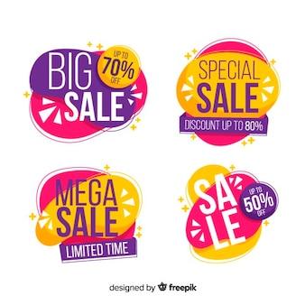 Conception géométrique de bannières de ventes colorées