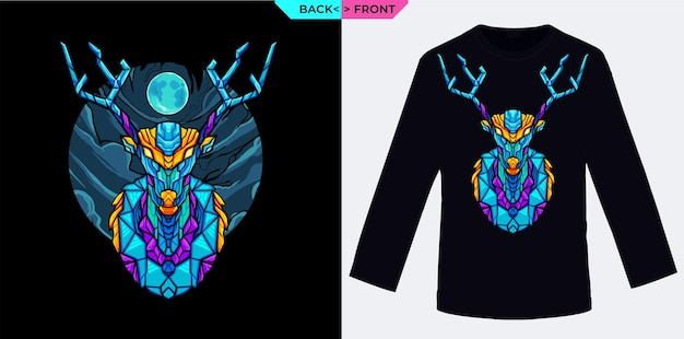 Conception géométrique de cerf et de lune bleue parfaite pour les marchandises et les vêtements sur le thème de l'hiver